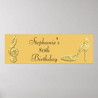 Goldmusik-Anmerkung und Stilett-80. Geburtstag Posterdrucke