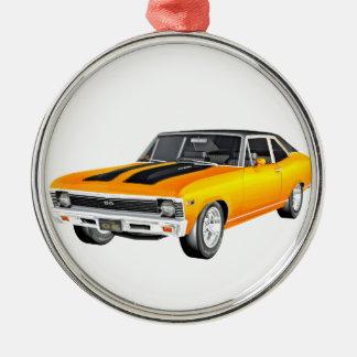 Goldmuskel-Auto 1968 Rundes Silberfarbenes Ornament
