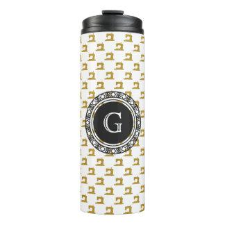 Goldnähmaschine-Muster mit Monogramm • Handwerk Thermosbecher