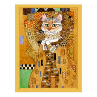 Goldniedliche Katze Spoofpostkarte Gustav Klimt Postkarte