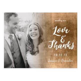GoldOmbre Hochzeits-Liebe und Dank-Postkarte Postkarte