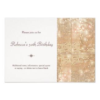 GoldPaillette-30. Geburtstag erröten Rosa 12,7 X 17,8 Cm Einladungskarte
