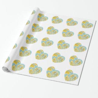 Goldpaisley-Herz-Packpapier Einpackpapier