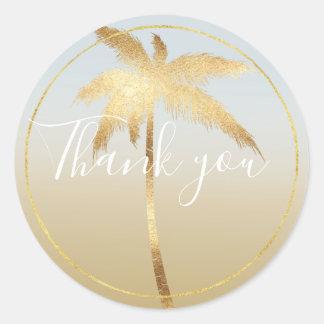 Goldpalme Ombre danken Ihnen Runder Aufkleber