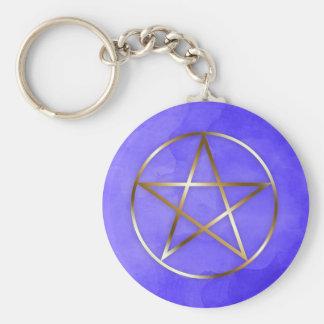 Goldpentagram-Stern-geheimnisvolle Schlüsselkette Schlüsselanhänger