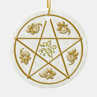 GoldPentagramm, -stechpalme u. -eiche Keramik Ornament