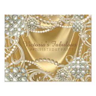 Goldperlen-Geburtstags-Party 10,8 X 14 Cm Einladungskarte