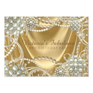 Goldperlen-Geburtstags-Party 12,7 X 17,8 Cm Einladungskarte