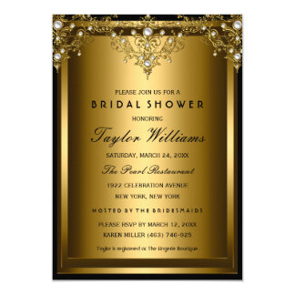 Goldperlen-laden Vintages Glamour-Brautparty ein 12,7 X 17,8 Cm Einladungskarte