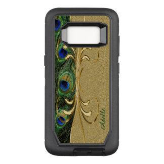 Goldpfau-Feder-Gewohnheits-Monogramm OtterBox Defender Samsung Galaxy S8 Hülle