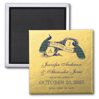 Goldpfau Save the Date Quadratischer Magnet