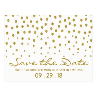 Goldpolka-Punkt, der Save the Date Wedding ist Postkarte