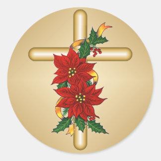 Goldquerpoinsettia-Weihnachtsaufkleber Runder Aufkleber