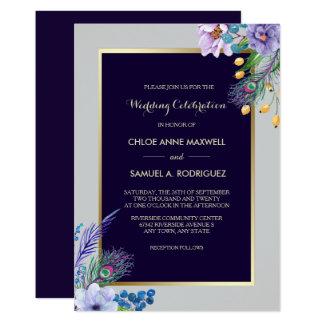 Goldrahmen blaue Boho Blumenhochzeits-Einladung Karte