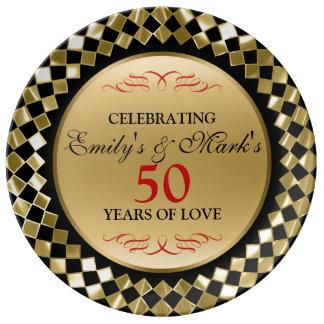 Goldrhomboid und Jahrestag der Rot-Strudel-50. Porzellanteller