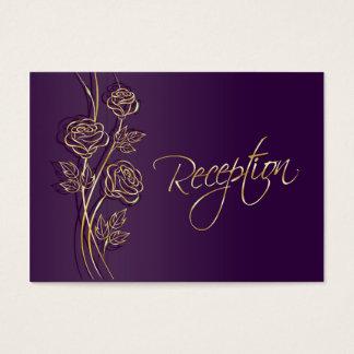 GoldRosen auf dem lila Hochzeits-Empfang Visitenkarte