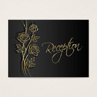 GoldRosen auf dem schwarzen Hochzeits-Empfang Visitenkarte