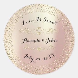 GoldRosen-Glitter-Save the Date Liebe ist- süß Runder Aufkleber