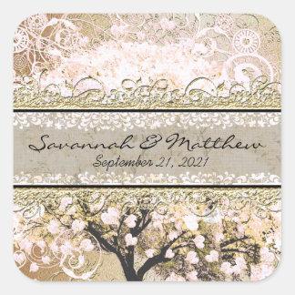 GoldRosen-Herz-Blatt-Baum-Quadrat-Hochzeits-Siegel Quadratischer Aufkleber