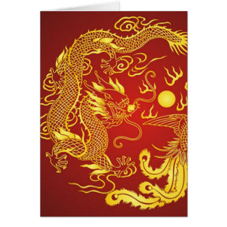 Goldrote Drache-Phoenix-Chinese-Gastgeschenk Karte