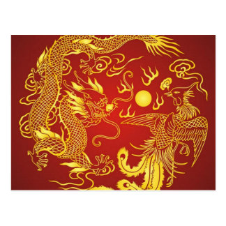 Goldrote Drache-Phoenix-Chinese-Gastgeschenk Postkarte