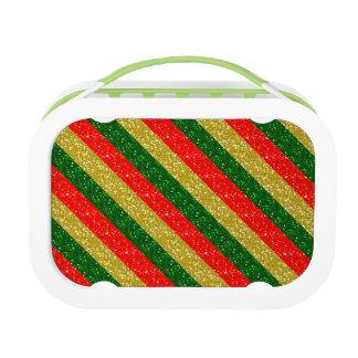 Goldrote u. grüne Glittery Weihnachtsstreifen Brotdose