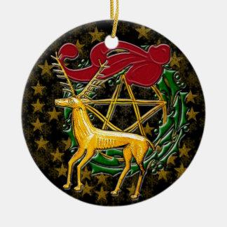 Goldrotwild, -Wreath u. -Pentagramm - Keramik Ornament