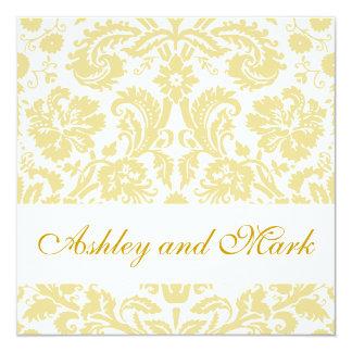 Goldsahneblumendamast-Hochzeits-Einladung Quadratische 13,3 Cm Einladungskarte