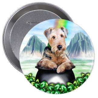 Goldschatz-Knopf Airedales Terrier Anstecknadelbuttons
