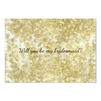 Goldschein Glittery Bokeh ist- meine Brautjungfer Karte