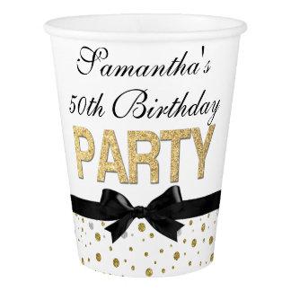 Goldscheinconfetti-50. Geburtstags-Party Pappbecher