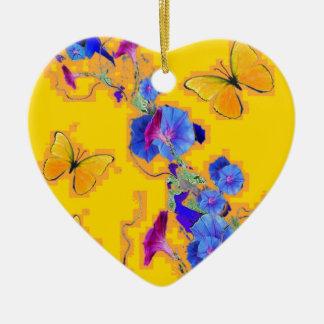 Goldschmetterlings-Blau-Winden Keramik Herz-Ornament