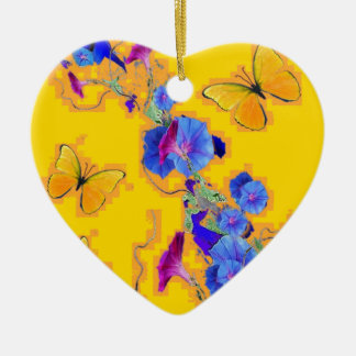 Goldschmetterlings-Blau-Winden Keramik Ornament