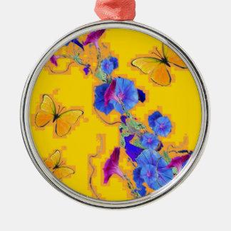 Goldschmetterlings-Blau-Winden Rundes Silberfarbenes Ornament