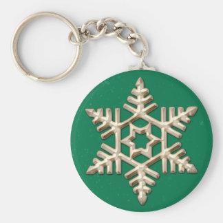 Goldschneeflocke am grünen Feiertag Keychain Standard Runder Schlüsselanhänger