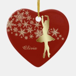 Goldschneeflocke-Ballerina-rotes personalisiertes Keramik Ornament