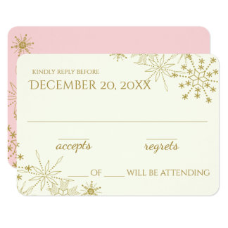 Goldschneeflocke-elegante Hochzeits-Antwort Karte