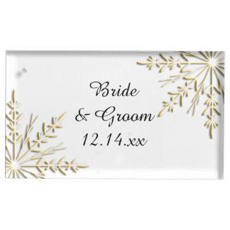 Goldschneeflocken auf weißer Winter-Hochzeit Platzkartenhalter