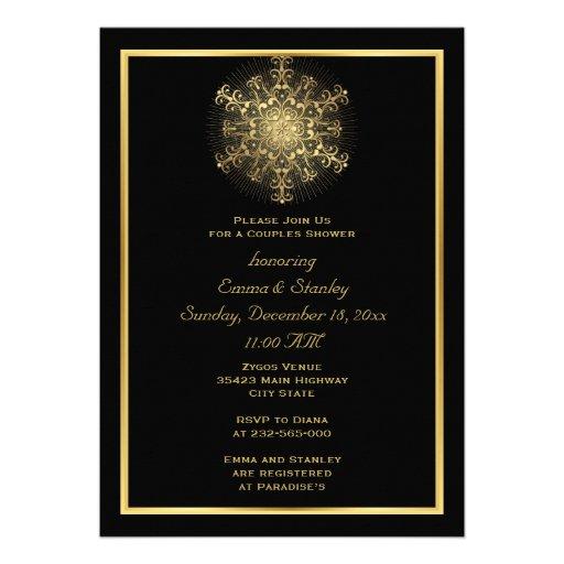 Goldschneeflockeschwarzwinterhochzeits-Paardusche Einladung