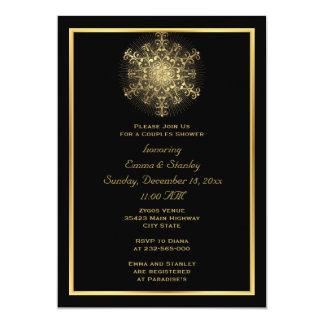 Goldschneeflockeschwarzwinterhochzeits-Paardusche 12,7 X 17,8 Cm Einladungskarte