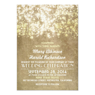 Goldschnur beleuchtet bezaubernde elegante Vintage 12,7 X 17,8 Cm Einladungskarte
