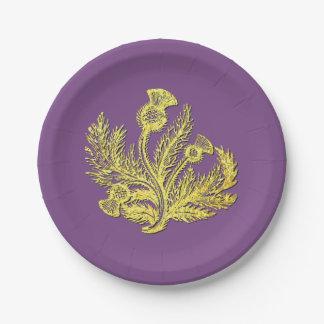 Goldschottische Distel Ihre Farbe Pappteller 17,8 Cm