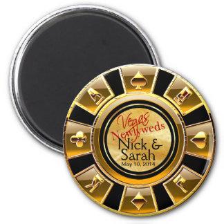 Goldschwarz-Sand-Kasino-Chip-Bevorzugung Las Runder Magnet 5,1 Cm