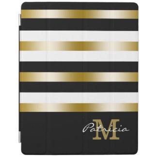 GoldSchwarz-weißes Streifen-Gewohnheits-Monogramm iPad Smart Cover