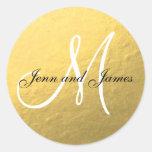 Goldschwarze Gastgeschenk Hochzeits-Aufkleber-Init