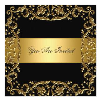 Goldschwarze Party Einladungs-Blumenrahmen Quadratische 13,3 Cm Einladungskarte