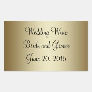 Goldschwarzer Hochzeits-Wein-Aufkleber Rechteckiger Aufkleber
