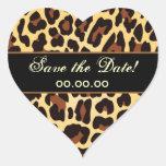 Goldschwarzer Leopard Save the Date Herzaufkleber