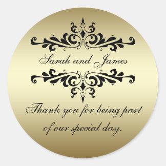Goldschwarzer Wirbel dankt Ihnen Gastgeschenk Hoch Runde Aufkleber