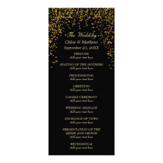 Goldschwarzes Bandconfetti-Hochzeits-Programm Kartendruck